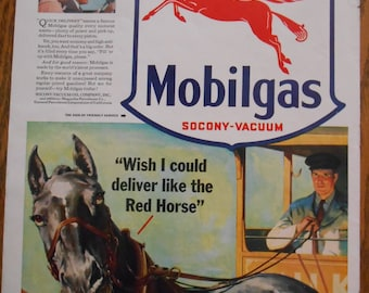 A58 Vintage 1941 Mobil gas Pegusus horse ad Retro 1940s advertise Life magazine work cute horse art gas station decor horse lover gift