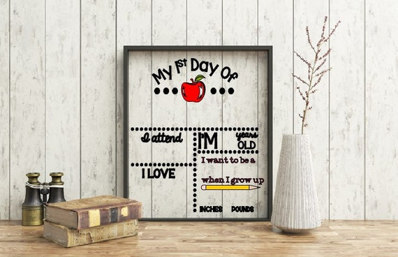 My First Day of School Dry Erase Frame, Dry Erase Kid's First Day of School Sign, Back to school reusable sign, Reusable Dry erase board