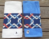 Beach Hand Towel Nautical Rope Coastal Navy Red White Blue Guest Bathroom Decor Housewarming Wedding Gift