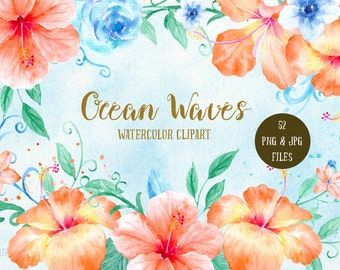 Watercolor Clipart Ocean Waves - orange hibiscus, blue roses, swirls and curls, posies and patterns for instant download