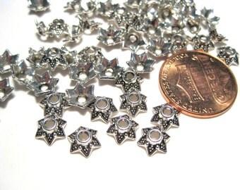 100pcs Antique Silver Flower Bead Caps 7mm