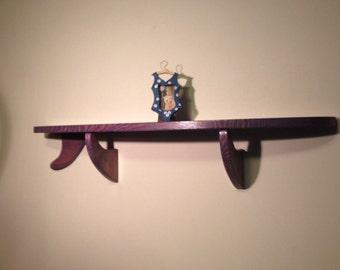 """32"""" Surfboard Shelf Wood Stained Purple"""