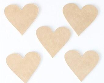 5 x MDF 8cm Heart Shape 3mm Thick Craft Cutout Wood Wooden Raw MDF Scrapbooking
