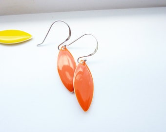 Orange Earrings/ Dangle Marquise Earrings / Sterling Silver Earrings/ Orange Leaf earrings/ Simple Drop Earrings/ Everyday Summer Earrings