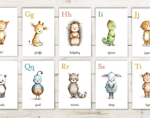 Alphabet flash cards Animal alphabet card set INSTANT
