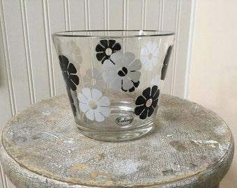 "Colony Glass ""Flower Power"" Ice Bucket/Black and White/1960s-1970s"