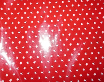 Fabric - Laminated cotton - red and white star print