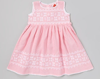 Hand Embroidered Pink & White Girl Dress