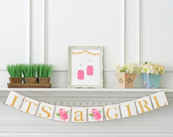 Baby Shower banner, Gold & Pink Its A Girl Banner, Baby Announcement, It's A Girl Sign, Baby Shower Decoration, Baby Girl Shower Ideas