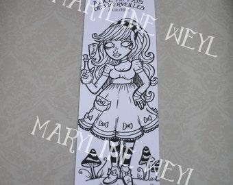 "Bookmark coloring ""Alice in the Wonderland"" Drink me"