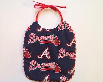 Atlanta Braves Bib with red ric rac.