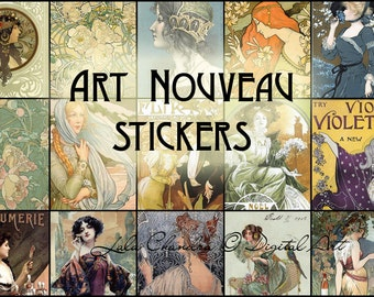Art Nouveau stickers  mini cards INSTANT DOWNLOAD printable journal cards tags scrapbooking