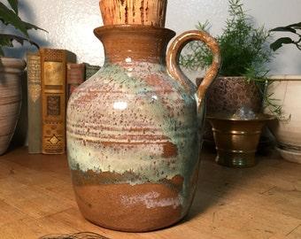 Pottery Jug  // Glazed / Earthy / Rustic / Cork Stopper