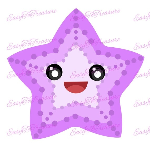 Digital Download Clipart Purple Starfish JPEG and PNG files