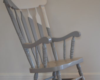 S O L D - Rocking Chair - Vintage hand painted in grey/blue and white with natural sealed timber rockers