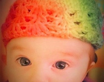 """Baby Be Everything """"Cute and Colorful! Tie-Dye Crocheted Baby Beanie Hat  size 0-3 months!"""