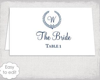 "Place cards Wedding template Rustic ""Leaf Garland"" DIY Monogram Navy name cards / escort card - YOU EDIT- Word template digital download"