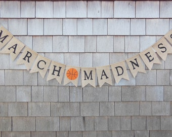 March Madness Decor, March Madness Banner, March Madness Party Garland, Basketball Banner, Basketball Birthday Party, Basketball Bunting
