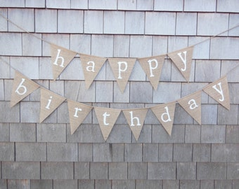Happy Birthday Burlap Banner, Happy Birthday Bunting, Birthday Decor, Birthday Garland, Birthday Party Decor, Burlap Garland, Rustic, 50th