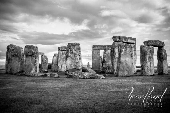 Large Print, Black and White, Stonehenge Photo, British Landscape, United Kingdom, English Countryside, Mysterious Picture, World Heritage