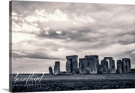 Stonehenge Canvas, Black and White, Photo Canvas Wrap, UK Landscape, Mysterious Photo, British Photography, Canvas Gallery Wrap, Canvas Wall