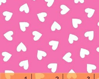 Fat Quarter Hearts - White on Pink by Windham Fabrics (31640-4) Cotton Fabric