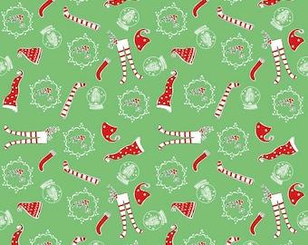 Pixie Noel - Riley Blake - Tasha Noel Fabric - #C5253-GREEN - Christmas Fabric - Holiday Fabric - Christmas in July - IN STOCK