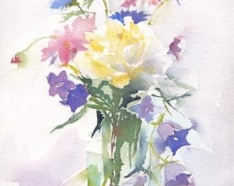 Summer bouquet in glass vase. Original watercolour.