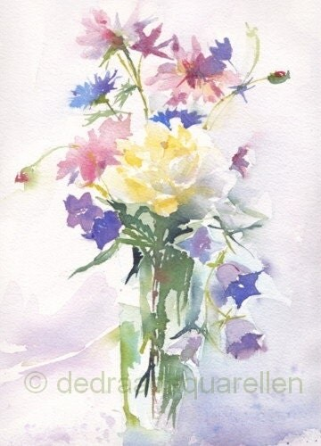 summer bouquet in glass vase original watercolour. Black Bedroom Furniture Sets. Home Design Ideas