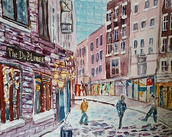 Original watercolor of NYC downtown