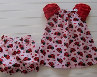Baby Girls Dress SetGirls Lady Bug Dress and Diaper cover,Handmade,Peasent dress style, Matching Bloomers,All Seasons