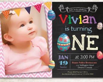Easter birthday invitation. Girl Easter Egg first birthday party invite. Chalkboard easter bday invites with photo. Printable digital DIY.