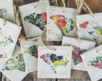 3 x 3 Decoupage Floral Custom State Ornaments or Gift Tags Made from Reclaimed Wood