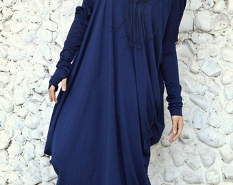 Asymmetrical Blue Kaftan / Off Shoulder Dress / Maxi Dress / Loose Oversize Dress TDK13