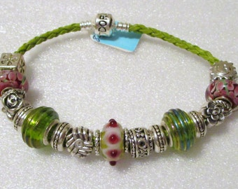760 - NEW Lime & Pink Bracelet