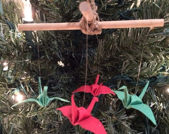 Origami Crane Ornament - Mini Origami Crane Mobile - Paper Crane Christmas Ornament - Unique Christmas Ornament - Office Gift - Lucky Cranes