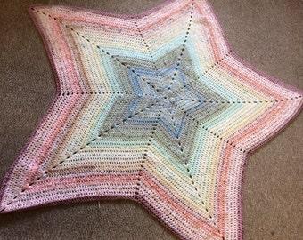 Pretty Rainbow Pastel Star Blanket