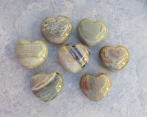 45mm Carved Silver Lace Agate Heart, 1 Agate Puffy Pocket Heart, Metaphysical, Each Gemstone Unique, Grounding, Balancing, Open to Abundance