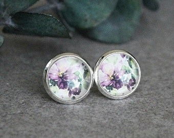 Purple Flower Earrings, Purple Stud Earrings, White Stud Earrings, Purple Earrings, Purple Post Earrings, Floral Earrings, 10MM Earrings