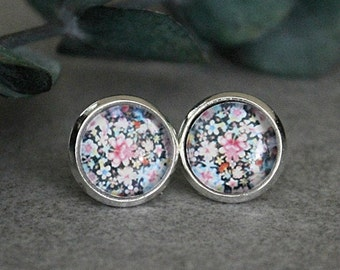 Flower Stud Earrings, Black Stud Earrings, Black Earrings, Black Post Earrings, Floral Earrings, Floral Stud Earrings, 10MM Earrings