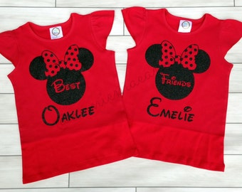 personalized best friends minnie mouse disney shirts - set of 2