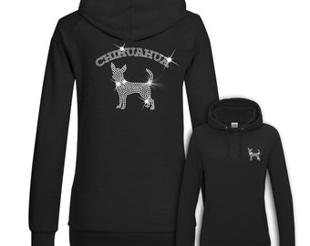 Ladies Hoodie Strass Chihuahua