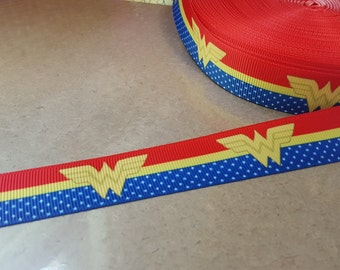 Wonder Woman  printed grosgrain 7/8 inch ribbon for hair bows, scrapbooking, other crafts - sold in 1, 3, or 5 yard lengths - M1940