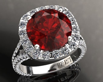 Ruby Ring Diamond Halo Engagement Ring 10mm Round Brilliant Ruby Ring 1.82ct Natural Diamonds White Gold Unique HaloPristine Custom Rings