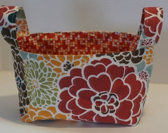 Orange Red Fabric Basket, Fabric Bin, Yarn Storage, Fabric Storage Bin,  Diaper