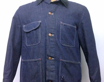 Vintage Men's DENIM JACKET by WRANGLER // Blanket Lined Denim Chore Coat // Field Barn Work Coat // Distressed Denim Jacket //  Size 40