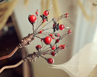 Hair pin Hair stick Hair accessories Hair fork Hair comb Wirewrapped pin Copper comb Ancient Chinese style Hair jewelry Metal hair comb