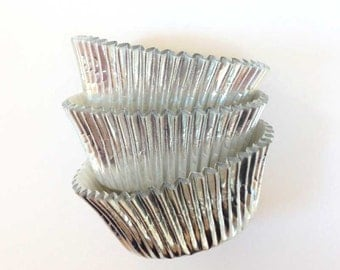 Silver Foil Cupcake Liners (45), Silver Foil Baking Cups, Silver Wedding Cupcake Liners, Silver Baking Cups, Silver Metallic Cupcake Liners