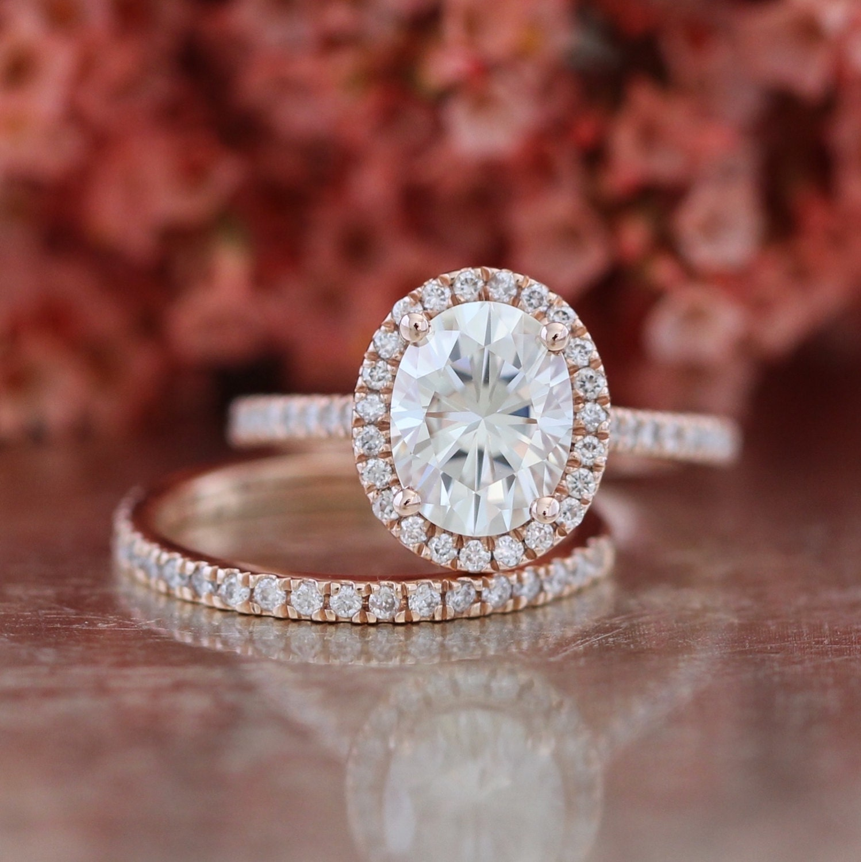 Forever Brilliant Moissanite Wedding Set Halo Engagement Ring
