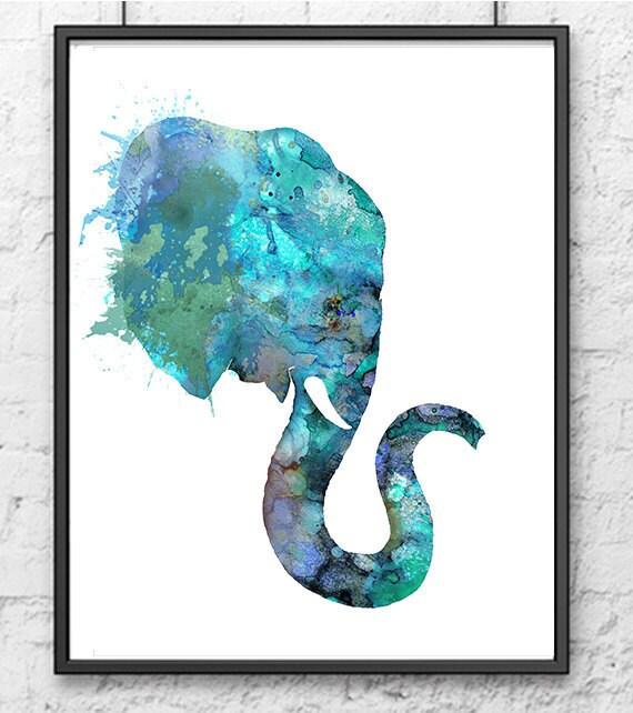 Blue Elephant Watercolor Animal Painting Animal Art Home